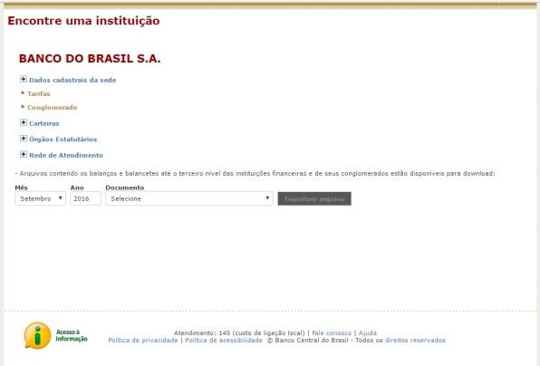 """Lista de dados disponíveis sobre cada instituição financeira na seção """"Encontre uma instituição"""""""